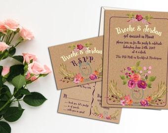 Rustic Mason Jar with Watercolor Flower Bouquet, Wedding or Elopement Invitation Suite, Custom Wedding or Eloped Reception Invitation, Event