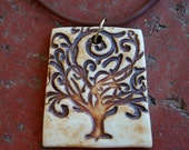 Rustic Tree of Life Porcelain Pendant