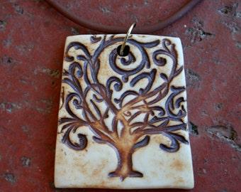 Rustic Tree of Life Porcelain Pendant