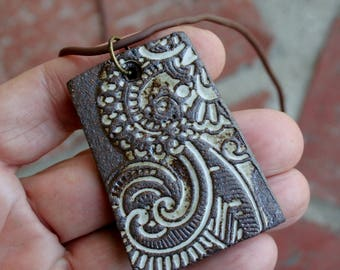 Rustic Lace Stoneware Pendant