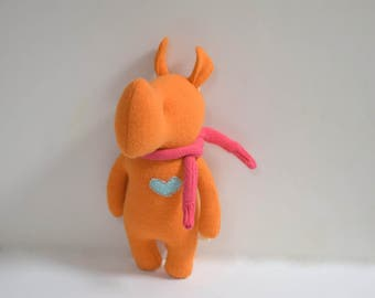 Handmade Rhino stuffed small animal bright orange Rhino doll eco toy upcycled wool sweater soft plush Rhino bubynoa Elifants&rhinos