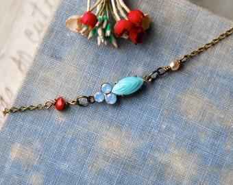 Blue opal choker ,crystal choker,short necklace,valentines necklace,pearl choker. Tiedupmemories