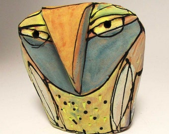 """Owl art, ceramic owl sculpture, whimsical, colorful owl figurine, 3-3/4"""" tall, """"Owl Person Empowered by Grandfather Sun."""""""