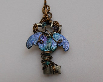 Blue-Purple Owl Key Pendant -- Wings Spread Owl on Wire Wrapped Antique Key, Swarovski Crystals, Antique Brass Wire