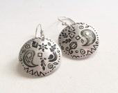Paisley Earrings in sterling silver, navajo stamps, circles, stamped jewelry
