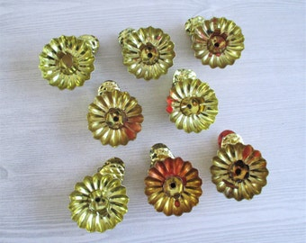 Set of 8 Gold Toned Vintage Tin Pine Cone Christmas Tree Clip Candleholders