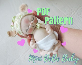 PDF Pattern- How to Make a Mini BeBe Baby Doll by BeBe Babies and Friends Soft Sculpture Baby Doll Pattern Cloth Doll Waldorf Doll  Mini