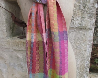 Handwoven Scarf, Naturally Dyed Silks