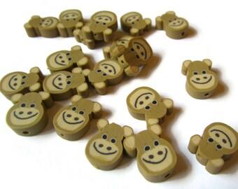 20 Brown Monkey Heads Animal Head Beads Polymer Clay Beads Cute Beads Kawaii Beads Jewelry Making Zoo Beads Loose Beads Beading Supplies