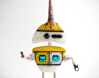 Spring Robot Sculpture Fused Glass Kilnformed Mixed Media Decor Handmade Original Art Sterling Silver Wire Wrapping Steampunk Industrial