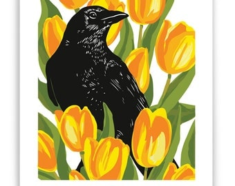 Crow in Tulips Art Reproduction