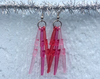 Shades of Pink Lightning Bolt Earrings w/ silvery hooks