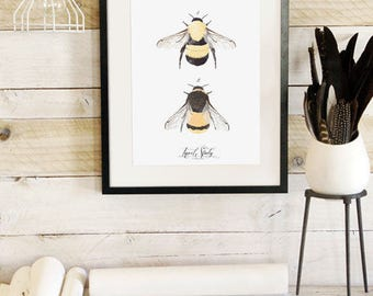 Insect Study -Bee- Botanic Collection - Beautifully textured cotton canvas art print. Order as a 5x7 8x10 11x14 or 16x20 size.