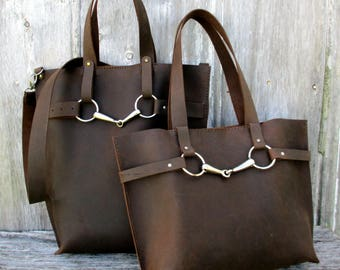 Leather Equestrian Bag in Walnut Brown Distressed Leather by Stacy Leigh