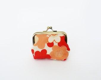 Coin purse, orange and cream blossom design, vintage Japanese kimono fabric, silk purse