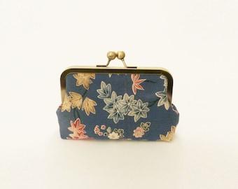 Clutch bag, slate grey maple leaf design, vintage Japanese kimono fabric, evening purse