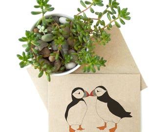 Two puffins recycled card - bird illustration - kissing puffins - eco friendly kraft card