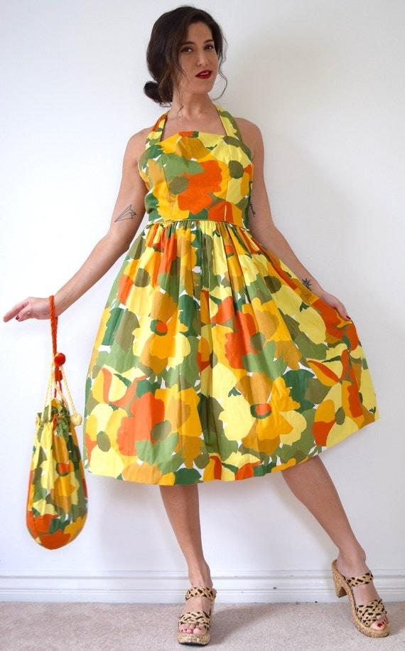 Vintage 50s Summer Stroll Bold Floral New Look Racerback Sundress with Matching Handbag (size medium, large)