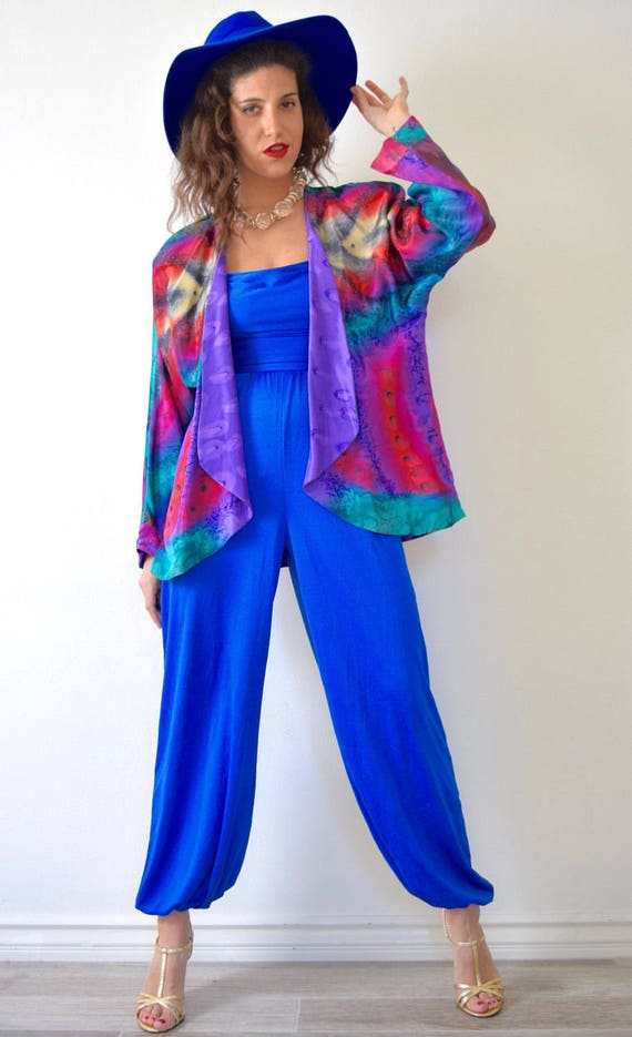 SUMMER SALE/ 30% off Vintage 80s 90s Marbled Rainbow and Purple Silk Reversible Open Front Jacket