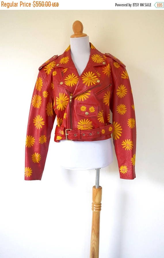 SPRING SALE / 30% off Vintage 80s 90s Hand Painted Siren Red Leather Flower Power Cropped Motorcycle Jacket (size medium, large)