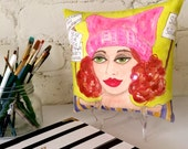 EMPOWERED WOMAN PILLOW,  hand painted pillow, red hair, pink pussy hat, protest signs, Women's March, gift for her, decorative pillow, quote