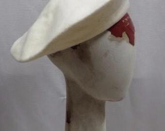 Vintage 70s Beret Wool Winter 1970s Hat Boho Cream Retro Boho
