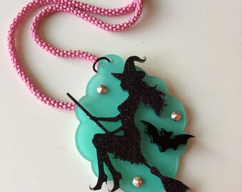 Pastel WITCH laser cut acrylic necklace