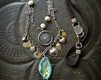 Milagos, Protective Hand of Milagros, Roman Glass, Heart Pendant, Pearls, Chain, Layered Necklace, Beaded Necklace