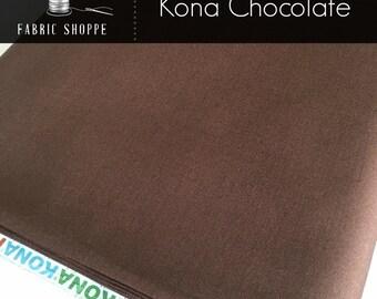 Kona cotton solid quilt fabric, Kona CHOCOLATE 1073, Brown fabric, Solid fabric Yardage, Kaufman, Cotton fabric, Choose the cut