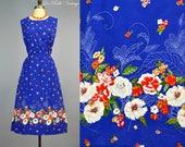 Vintage Blue Floral Cotton Dress L XL ~ Border Print Sundress ~ Unworn