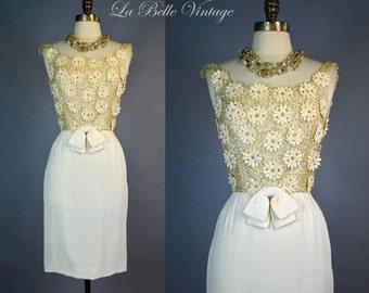 Vintage Mini Sequin Pinup Dress ~ Ivory Crepe ~ Appliques ~ Rhinestones ~ Lee Claire