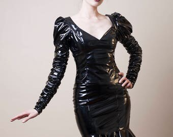 PVC Top with Long Ruched Sleeves-Made to Measure