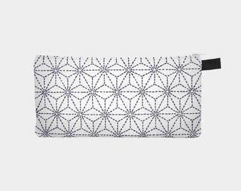 Japanese Sashiko 3 Zip Bag Travel Pouch Printed Pencil Case