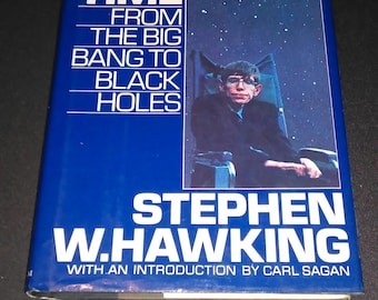 Free Shipping Vintage Hardback 1988 A Brief History of Time The Big Bang to Black Holes by Stephen Hawking Intro by Carl Sagan Physics Book
