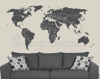World Map Wall Decal Countries Border Wall Art Sticker Boundaries Outline Vinyl Or