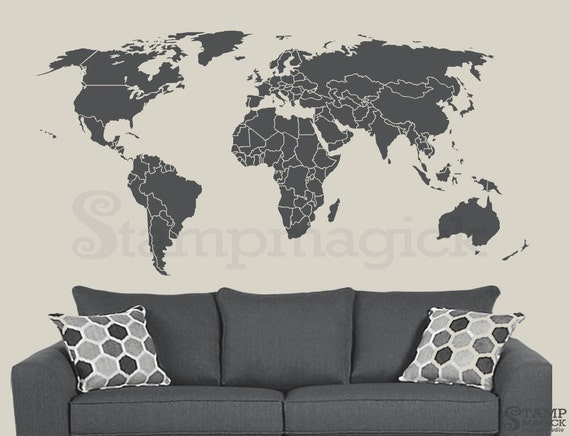 World map wall decal countries border wall art sticker like this item gumiabroncs Choice Image