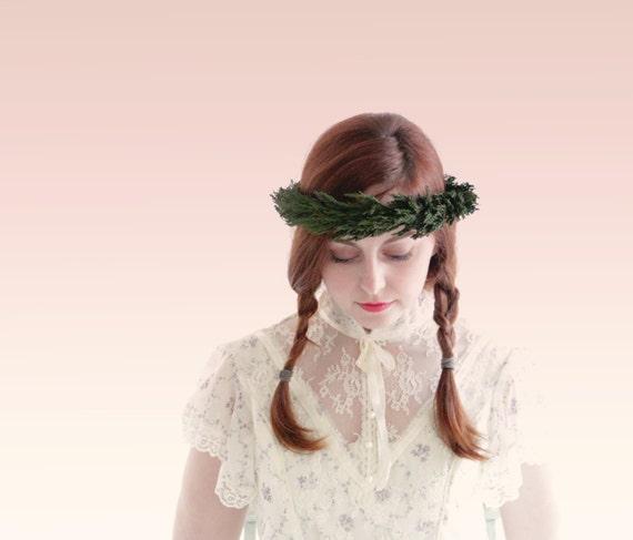 Green leaf bridal crown, Cypress leaf head piece, Boho bridal flower crown, Natural hair wreath, Rustic wedding crown, Leaf headpiece