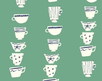 Birch Wonderland High Tea Pond Organic Cotton Fabric