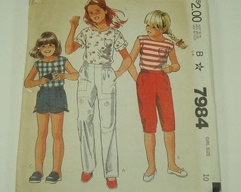 McCall's Girls' Top, Pants Or Knickers Or Shorts Pattern 7984 Size 10