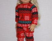 18 inch doll clothes, red fair isle print doll pajamas, matching handknit slippers, Christmas pyjamas, doll pjs,