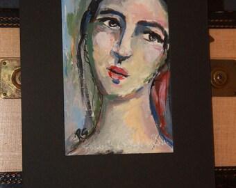 Portrait Study #5 - Original Portrait Painting with Mat Board