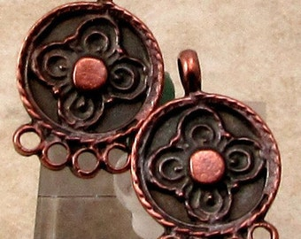 Small Earring Connector, Chandelier, Mykonos Casting, Bronze Patina, 2 Pieces, M418
