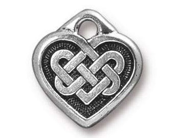 Small Celtic Heart, Antique Silver, TierraCast Celtic Collection, 2 Pieces, TS96