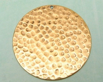Large Hammered Disk Pendant, Antique Gold, Trinity Brass AG102