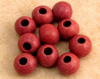 Greek Ceramic Round Pearl Beads 6-7mm, Dusty Rose Pink, Mykonos, 10 Pieces M216