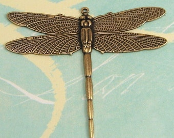 Brass Dragonfly Pendant,  Antique Gold, Trinity Brass AG32