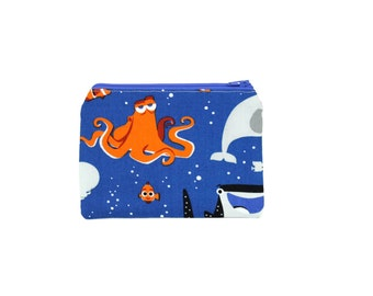 Finding Dory Zipper Pouch / Hank Dory Nemo Bag / Large Make Up Bag or Pencil Pouch