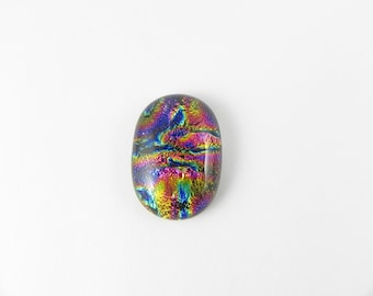 Dichroic Fused Glass Cabochon - Multicolor - 1721 - 24mm x 17mm