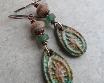Jungle Love ... Artisan-Made Polymer Clay, Ceramic, Ancient Roman Glass and Copper Wire-Wrapped Earthy, Boho, Tribal, Rustic Earrings