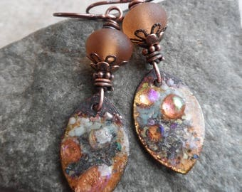 RESERVED Peach Spritzer ... Artisan-Made Enameled Copper Charms, Lampwork and Copper Wire-Wrapped Rustic, Boho Earrings
